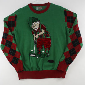 Ugly Christmas Sweater Mens Pullover Sweater Green